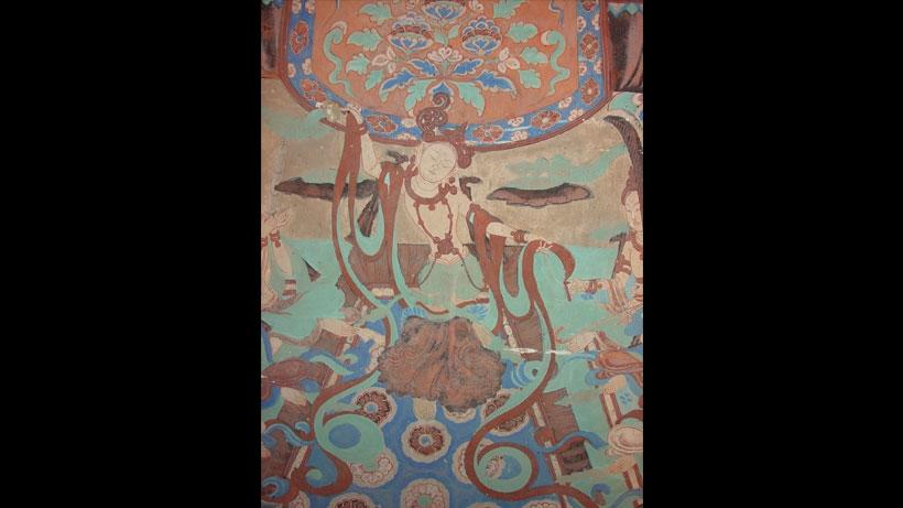 Cave 85, detail of wall painting of a dancing figure, Late Tang dynasty (848–907 CE). Mogao caves, Dunhuang, China.