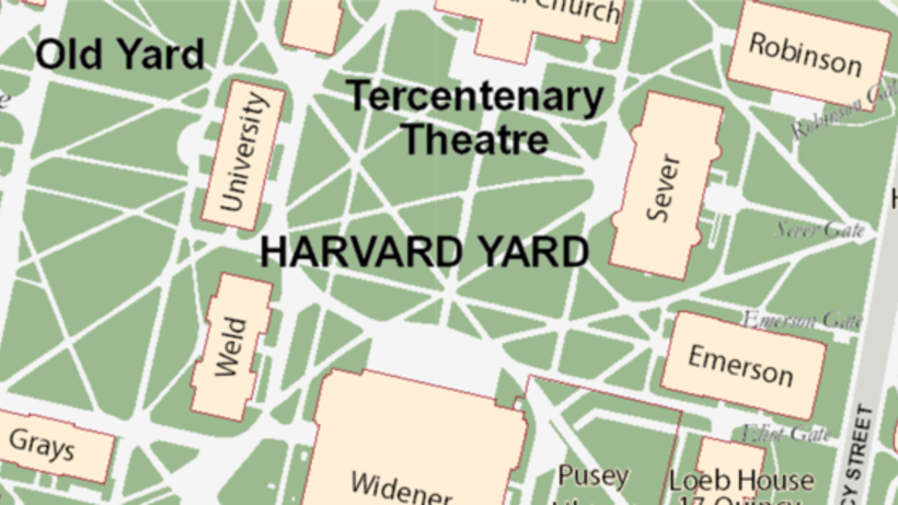 An aerial view drawn map of the Harvard Undergraduate campus
