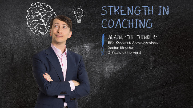 Man with light bulb thought and text that says strength in coaching