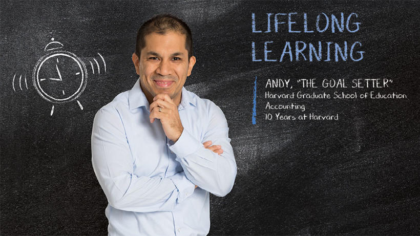 Man in front of blackboard with text Lifelong Learning.