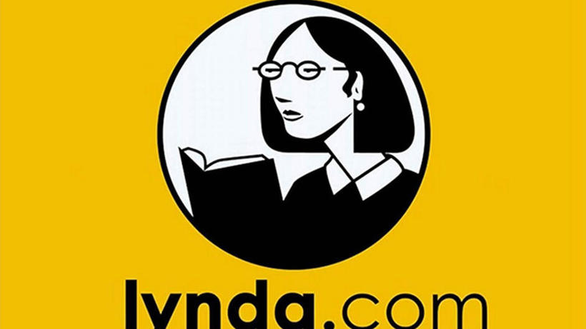 lynda.com's logo featuring a woman reading a book