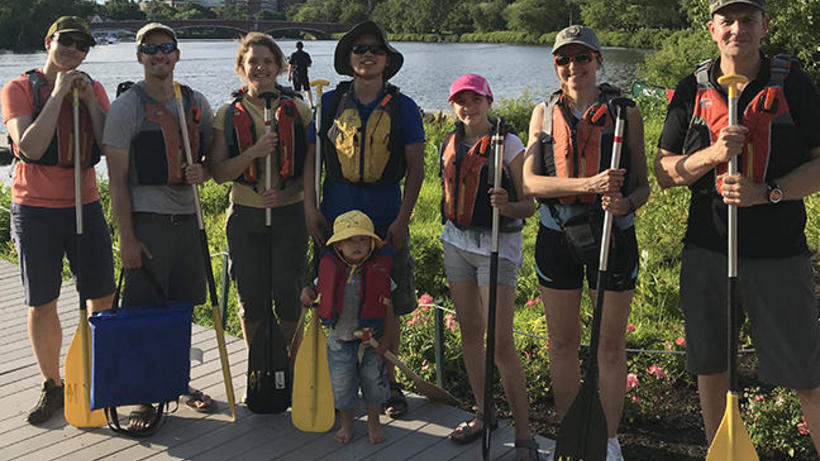 The Moorcroft Lab preparing to kayak on the Charles River
