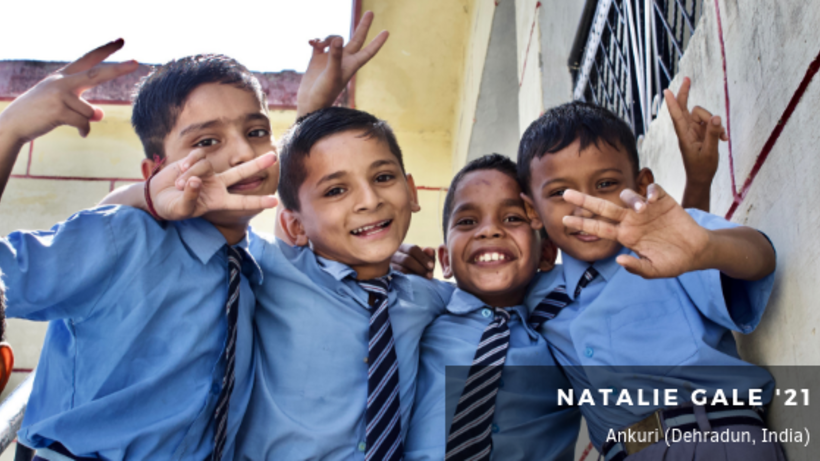 Image of four Indian kids wearing school uniforms