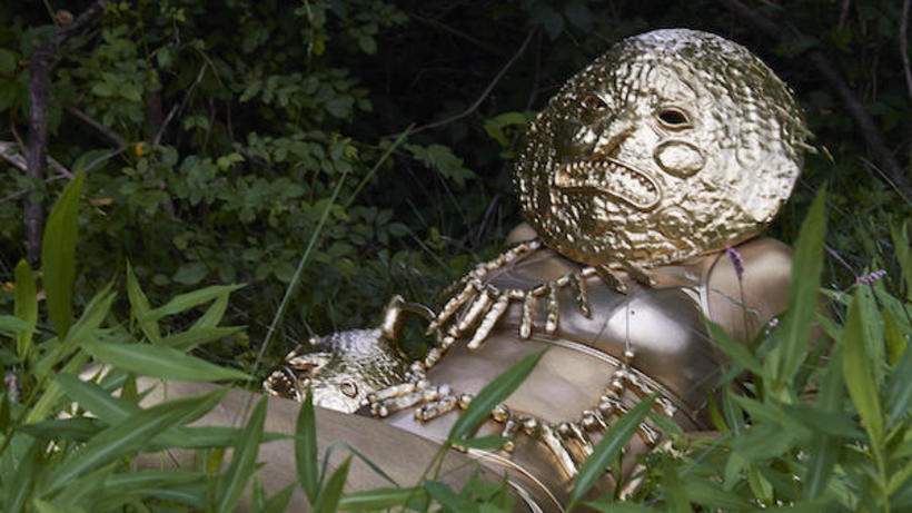 masked figure reclining in grass