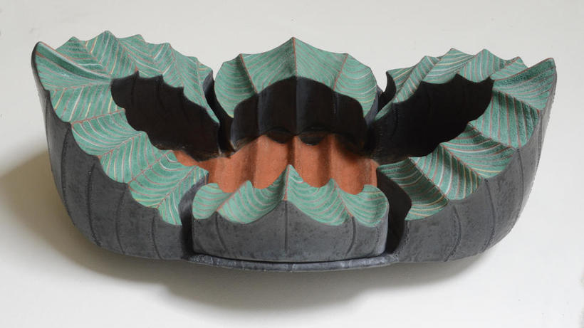 multi-part, blue, gray, and terra cotta-colored lobed ceramic planter by Mary Roettger