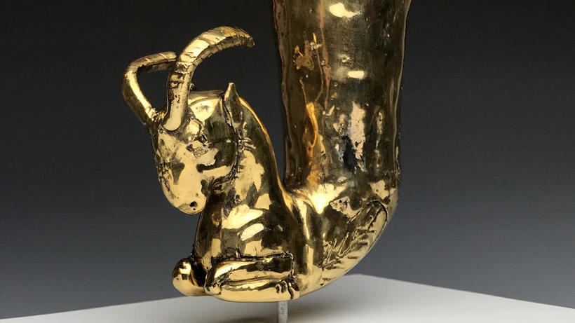 "Ian Thomas, ""Western Commodity/Colonial Legacy: Rhyton with Forepart of a Ram II"" Earthenware, Glaze, Luster. 2018"