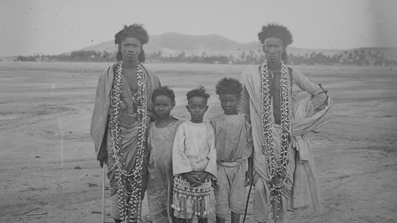 Five boys from the Bisharin tribe at Aswan.