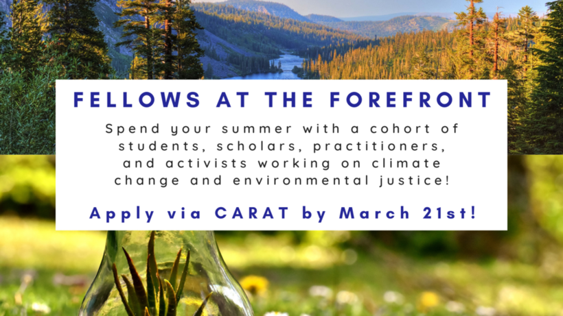 Spend your summer with a cohort of students, scholars, practitioners, and activists working on climate change and environmental justice! Apply by March 21st