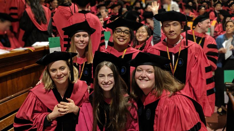 Photo of several Sociology Ph.D. recipients at Commencement May 2019