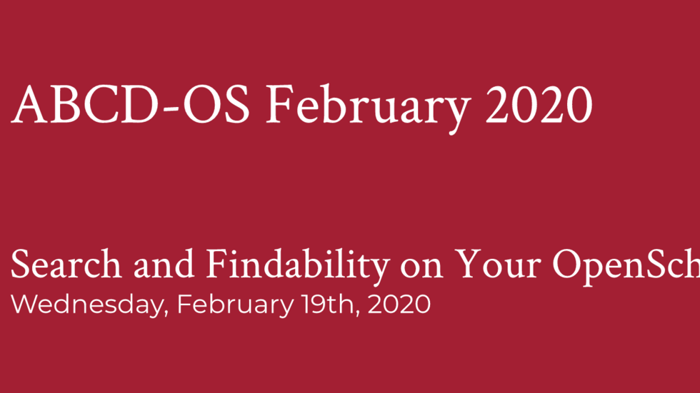 Search and findability in Openscholar - february 202 meeting.