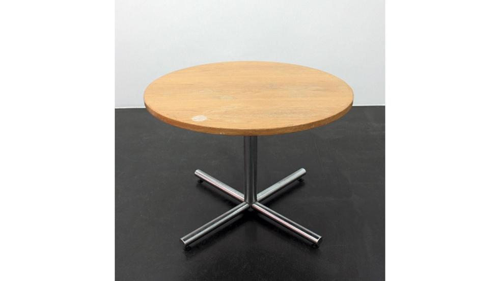 Cameron Rowland, 49-51 Chambers Street - Basement, New York, NY 10007, 2014. Wooden table top, base, hardware. 31 x 42 x 42 in.