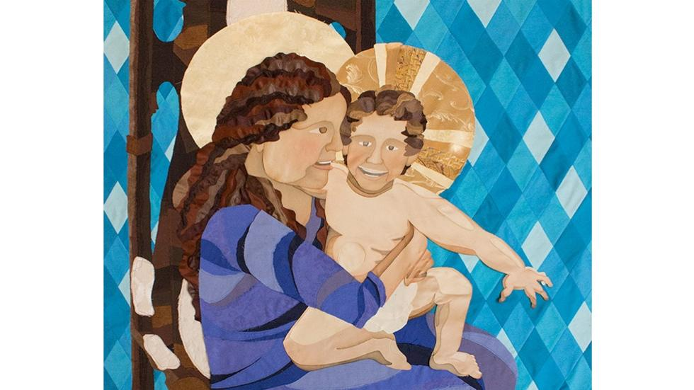 09/10 Christina M. Rodriguez, Madonna and Child, 2015 (detail). Textiles; patchwork, 5 x 9 ft. 2 in.