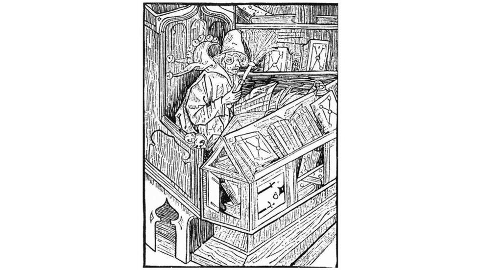 Sebastian Brant, The Book Fool, 1494 woodcut from Bibliomania; or Book Madness, 1809 edition.