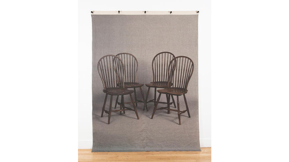 Allison Smith, Windsor Chairs, 2014. Archival Pigment Print on Linen, Canvas, Grommets, Nails 92 x 71 in