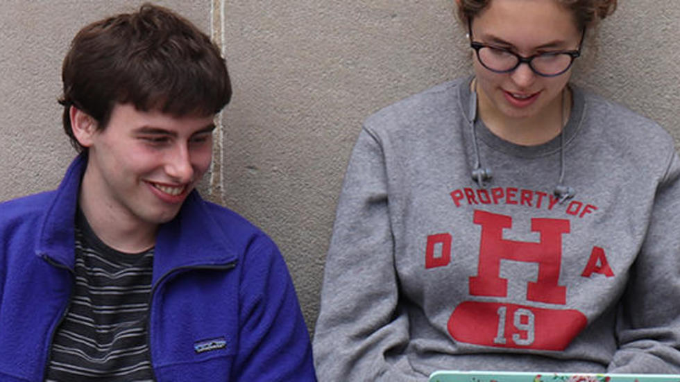 Two Students at a laptop