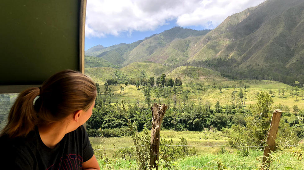 Back of young woman's head as she takes in view of mountains and greenery
