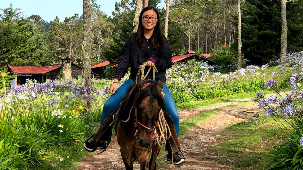 Student sitting astride horse, with light purple flowers on both side of trail