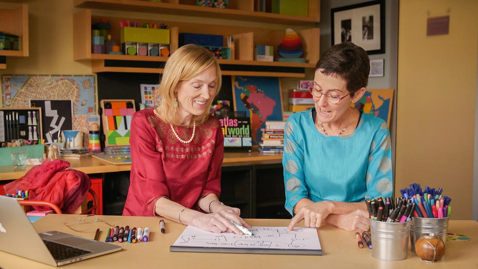Sue J. Goldie and Eve Wittenberg in GHELI's studio.