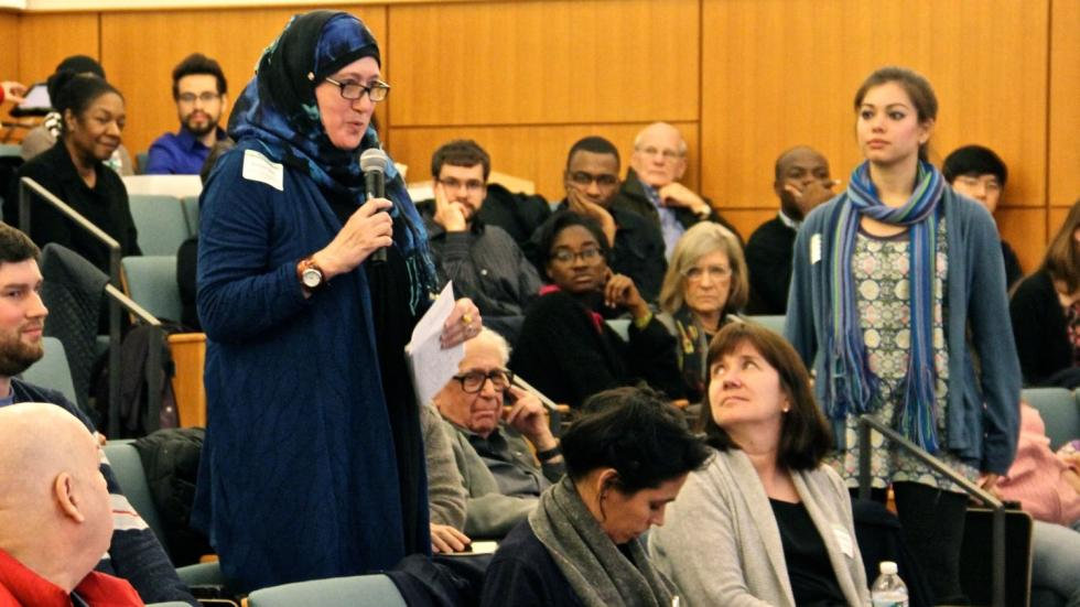 RPP Working Student Barbara poses a question for the Pastor and the Imam.