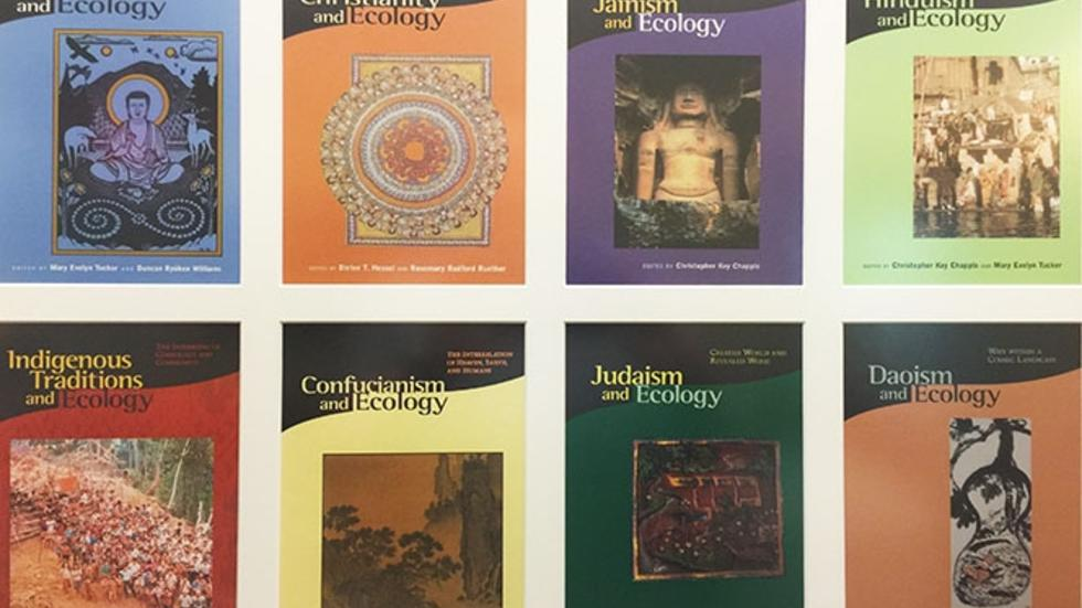 Photo of book covers covering the Religion and Ecology series