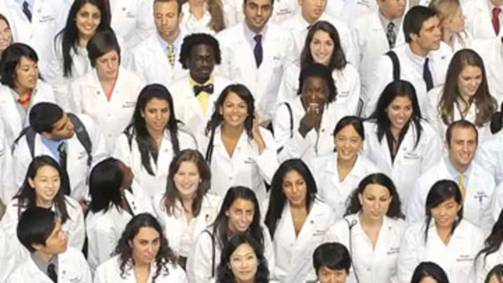 group of students in white coats