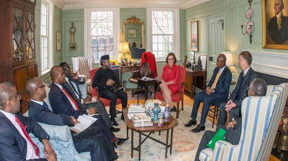 A discussion with the Vice President of Nigeria in the Wadsworth House Parlor