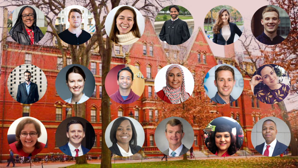portraits of Harvard graduates; link to Harvard '19 spotlights