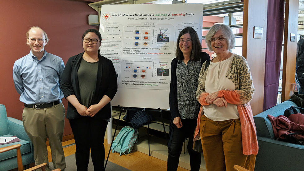 IMAGE: Photo of Class of 2019 thesis writer Yiping Li posing with her committee, Jonathan Kominsky, Professor Elizabeth Spelke, and Professor Susan Carey.