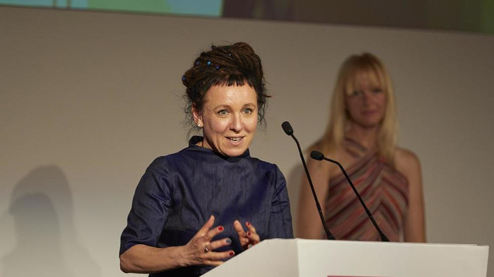 Image of Olga Tokarczuk giving speech