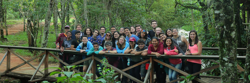 Students in a Brazilian forest