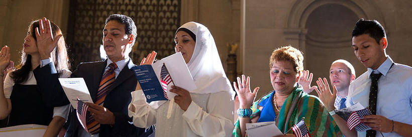 A naturalization ceremony at the US National Archives