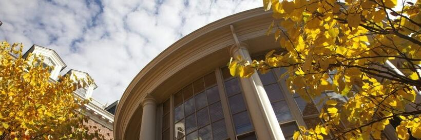 picture of the Barker Center with a link to video of Maya Jenkins discussing college writing