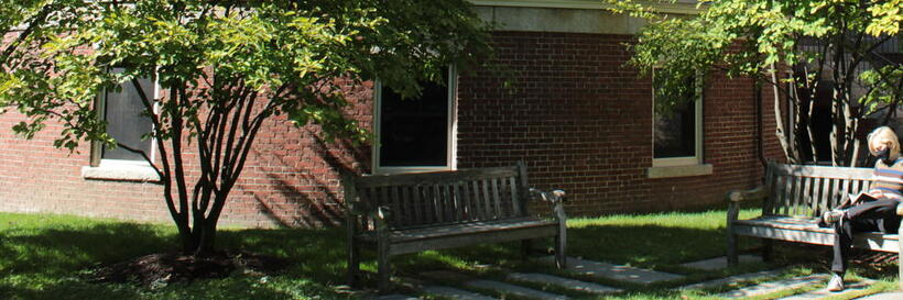 link to writing center blog over picture of Barker Center, Harvard campus