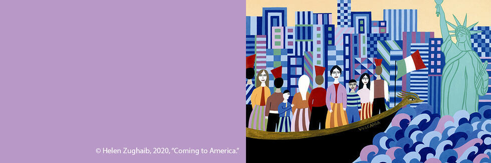 "CL 131 course banner with Helen Zughaib, 2020, ""Coming to America."""