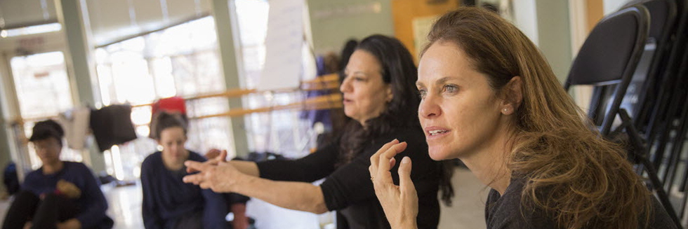 "Amy Brenneman '87 and Sabrina Peck '84 teach ""Performing Our Experience: Tools for Creating Original Theater"" as part of the January Arts and Media Seminars sponsored by the Office for the Arts at Harvard."