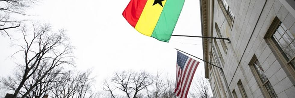 The flag of Ghana flies at University Hall in honor of the President's visit, March 2019