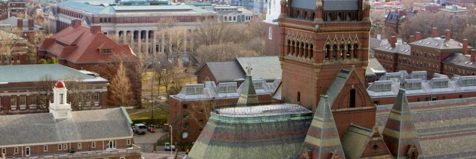 A view of Memorial Hall and the surrounding campus. This photo is taken from a high vantage point.