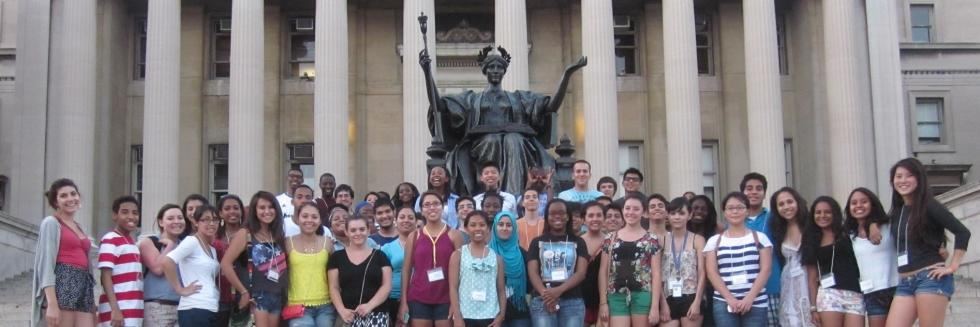 Columbia students in front of building