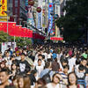Nanjing Pedestrian Road, a main shopping area, packed with people on a national holiday in Shanghai in 2014