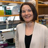 Professor Emily Balskus in her lab