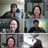 A photo compilation of students holding up their homemade spectrometers
