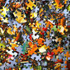 An up-close photo of colorful puzzle pieces