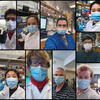 A compilation of photos of researchers wearing masks in their labs