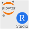 Jupyter Notebooks and RStudio logos on light grey background