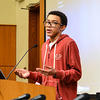 Tay Johnson, youth organizer for the Center for Teen Empowerment, speaks of his experiences to colloquium attendees.