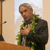Nainoa Thompson, President of the Polynesian Voyaging Society and a Pwo navigator, shared his views on climate change from the perspective of indigenous peoples at the Divinity School.