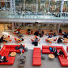 People sitting in the Smith Campus Center. Photo by Rose Lincoln