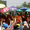 Monks take part in a demonstration against the military coup in Myanmar. Photo by Getty