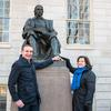 The President and First Lady at the John Harvard statue