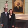 Mr. Correia e Silva with Jackie O'Neill in the Wadsworth House parlor